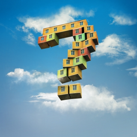 Mortgage loan - flying house  Building in the sky