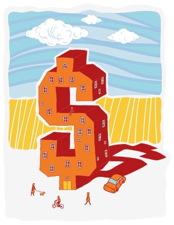 Dollar-shaped building vector illustration Illustration