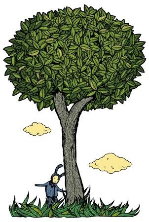Kid under the tree  Stock Vector - 16442935