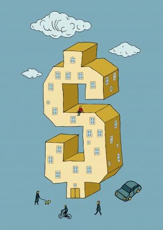 Dollar shaped building  vector illustration  Illustration
