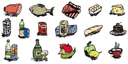 produits alimentaires: illustration vectorielle icônes alimentaire
