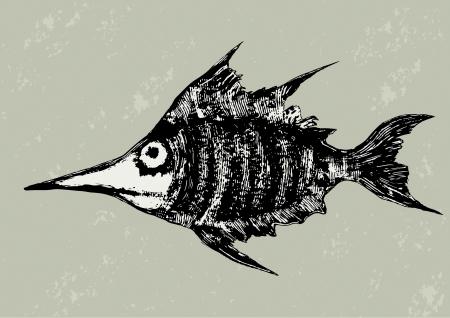 Funny woodcut fish vector illustration