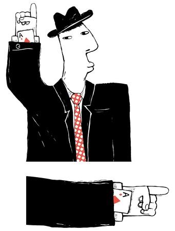swindler: cardsharper cartoon illustration