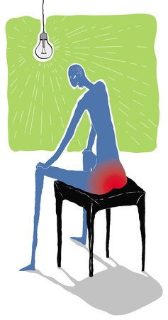 hemorrhoid: Pile painful vector illustration