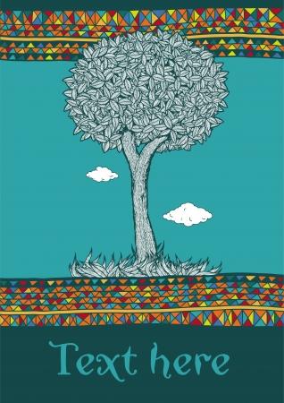 Decorative tree in ornamental border Illustration