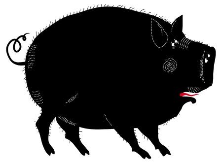 Funny black pig vector illustration