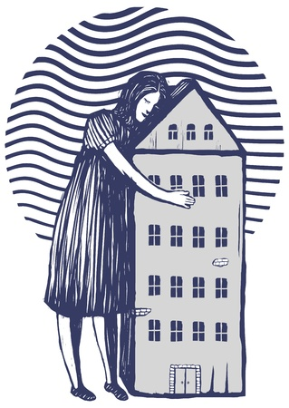 Woman holding her house in her arms