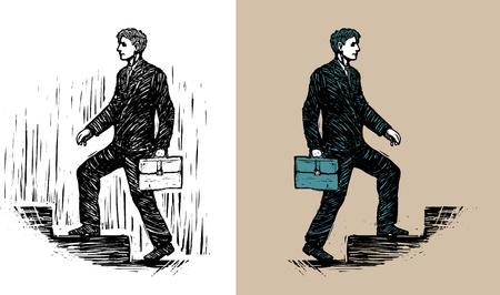 Businessman with briefcase walking upstairs