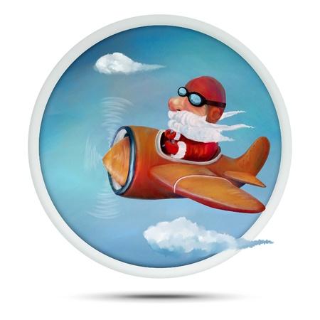 Christmas Santa on airplane hand drawn illustration Stock Photo
