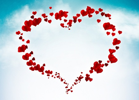 Valentine card background with hearts in the sky Stock Photo