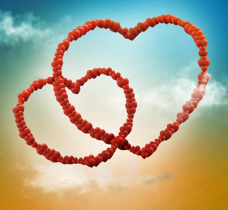 Valentine card background with chains of hearts Stock Photo