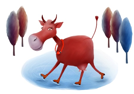 Skating cow illustration