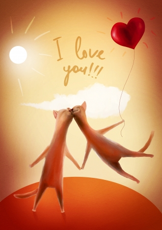 Valentine card  Cats with heart-balloon
