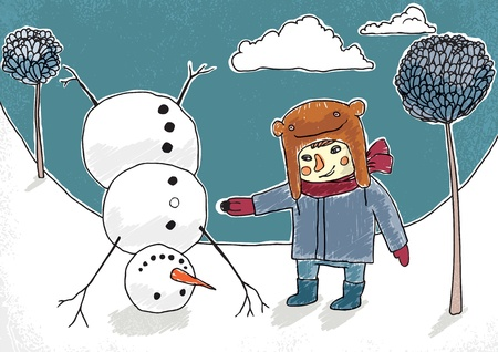 Little boy and funny upside down snowman vector illustration