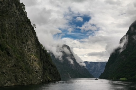 Cloudy fjord  Norway, Scandinavia