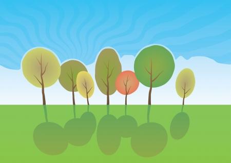 Summer trees in park  Vector cartoon landscape