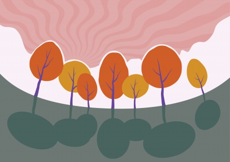Autumn trees in park  Vector cartoon landscape