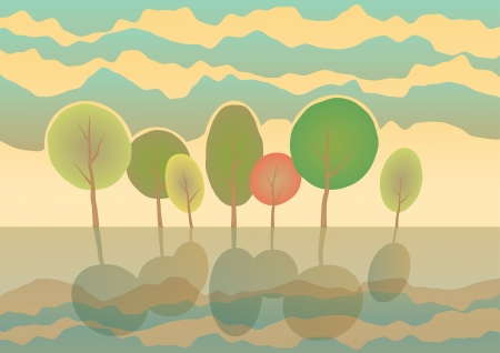 Summer trees in park  Vector landscape  Eps 10 Illustration