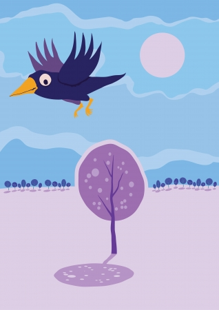 Crow flying over tree  Vector cartoon landscape