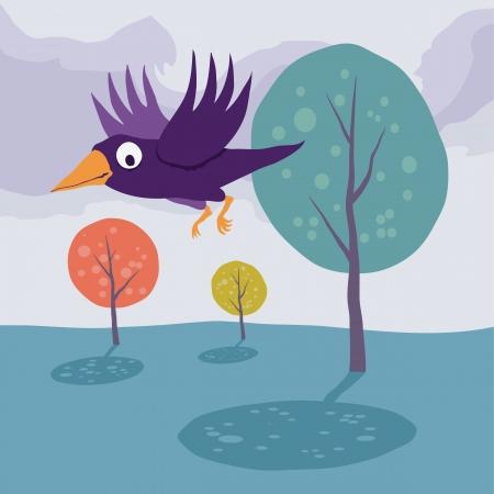 Crow flying over tree  Vector cartoon landscape