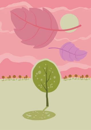 Lonely autumn tree  Vector cartoon landscape