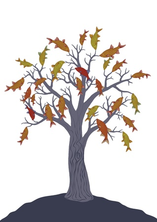 Fish tree on white  Vector drawing