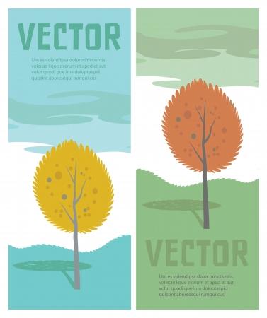 Autumn tree  Vector cartoon landscape Illustration