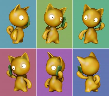 Funny kitten talking on mobile phone  3D image