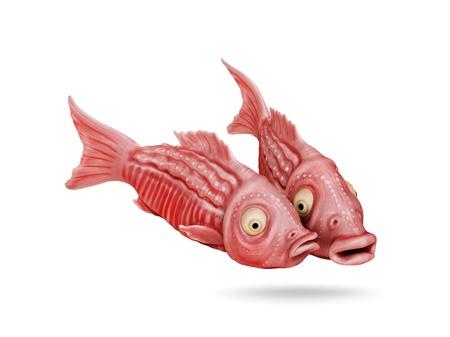 Two funny fish comic cartoon 3D image