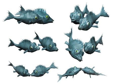 Fantastic fish in pairs kissing  3d based