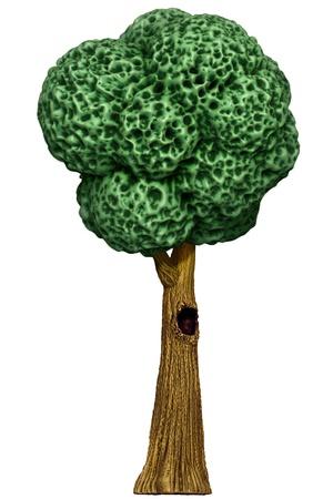 Cartoon tree with hollow Stock Photo