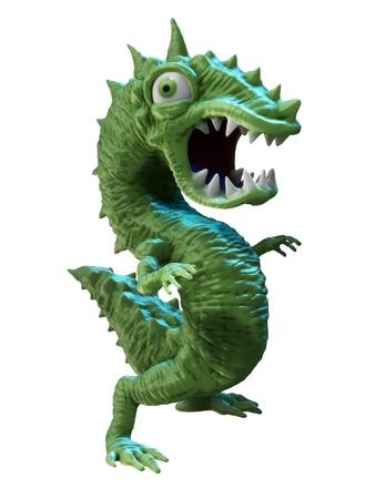 indebtedness: Green dollar shaped cartoon monster Stock Photo