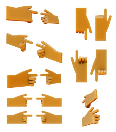 Pointing hand 3d icon set Stock Photo - 20196545