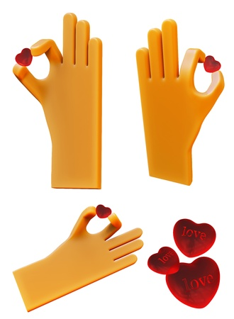 hand with heart shaped pill 3d icon Stock Photo