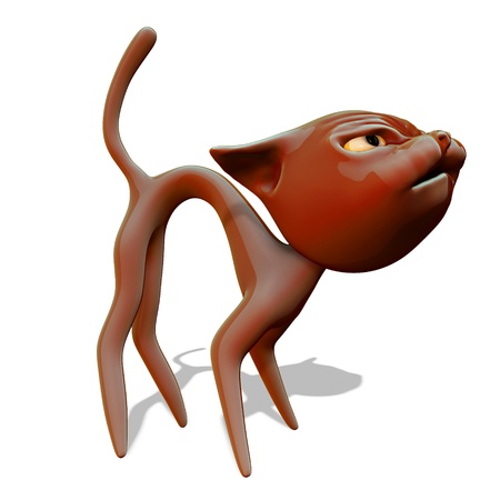 Angry red cat. 3d illustration