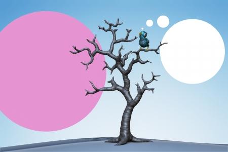 Blue bird perching in the dead tree