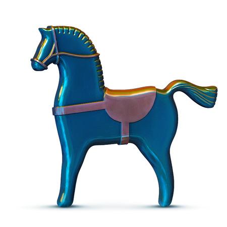 blue toy metal horse illustration isolated on white Stock Photo