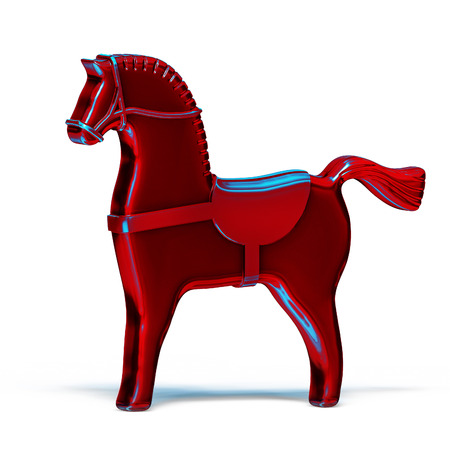 red toy metal horse illustration isolated on white