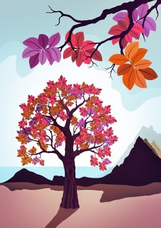 pink decorative tree illustration