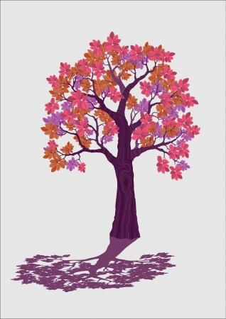 pink decorative tree vector illustration