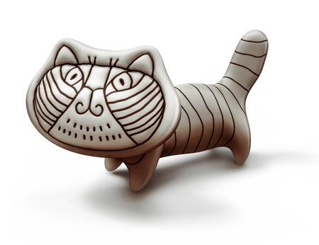 toy ceramic decorative cat isolated on white