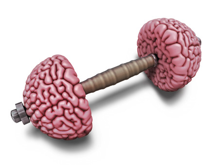 Brain dumbbells  Intellectual training illustration