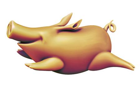 Running yellow piggy isolated on white Stock Photo