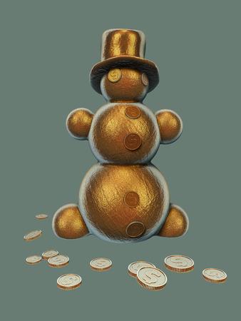 Christmas golden snowman making seasonal money Stock Photo