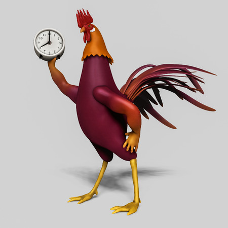 rooster with alarm clock in his hand illustration
