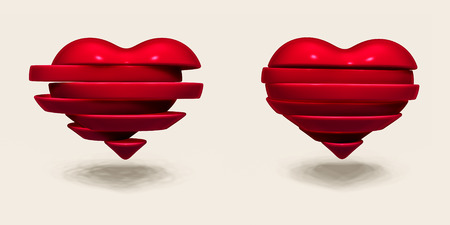 Broken heart sliced  Valentines Day illustration