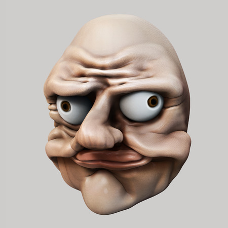 Trollface  Internet troll 3d illustration Stock Photo