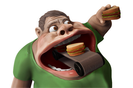 Fat hungry man eating hamburgers with food transporter 3d illustration isolated  Stock Photo