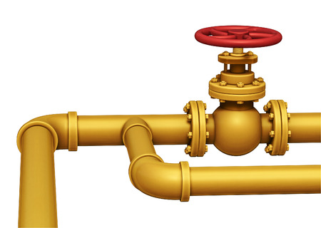 Gas pipe with valve 3d illustration isolated on white