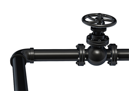 Industrial black pipe with valve 3d illustration isolated on white.